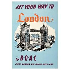 Original Vintage Travel Poster Jet Your Way To London BOAC Tower Bridge Thames