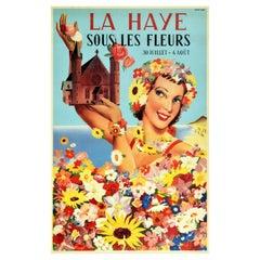 Original Vintage Travel Poster La Haye Sous Les Fleurs Hague Flower Festival Sea