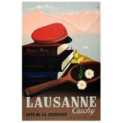 Original Vintage Travel Poster Lausanne Ouchy Switzerland Cite De La Jeunesse