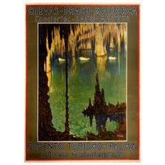 Original Vintage Travel Poster Mallorca Cuevas Drach Caves Lake Martel Concerts