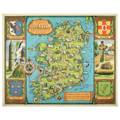 Original Vintage Travel Poster Map of Ireland Showing Places of Note & Interest