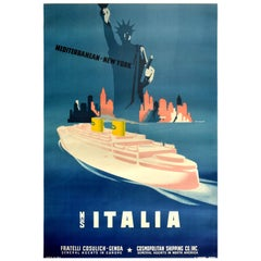 Original Vintage Travel Poster Mediterranean New York City MS Italia Cruise Ship