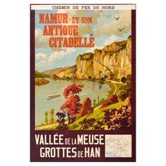 Original Vintage Travel Poster Namur Citadel River Meuse Valley Caves Train Map