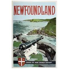 Original Vintage Travel Poster Newfoundland Cradle of New World History Spear