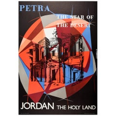 Original Vintage Travel Poster Petra The Star Of The Desert Jordan The Holy Land