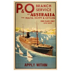 Original Vintage Travel Poster P&O Australia Malta Egypt Ceylon Sydney Harbour