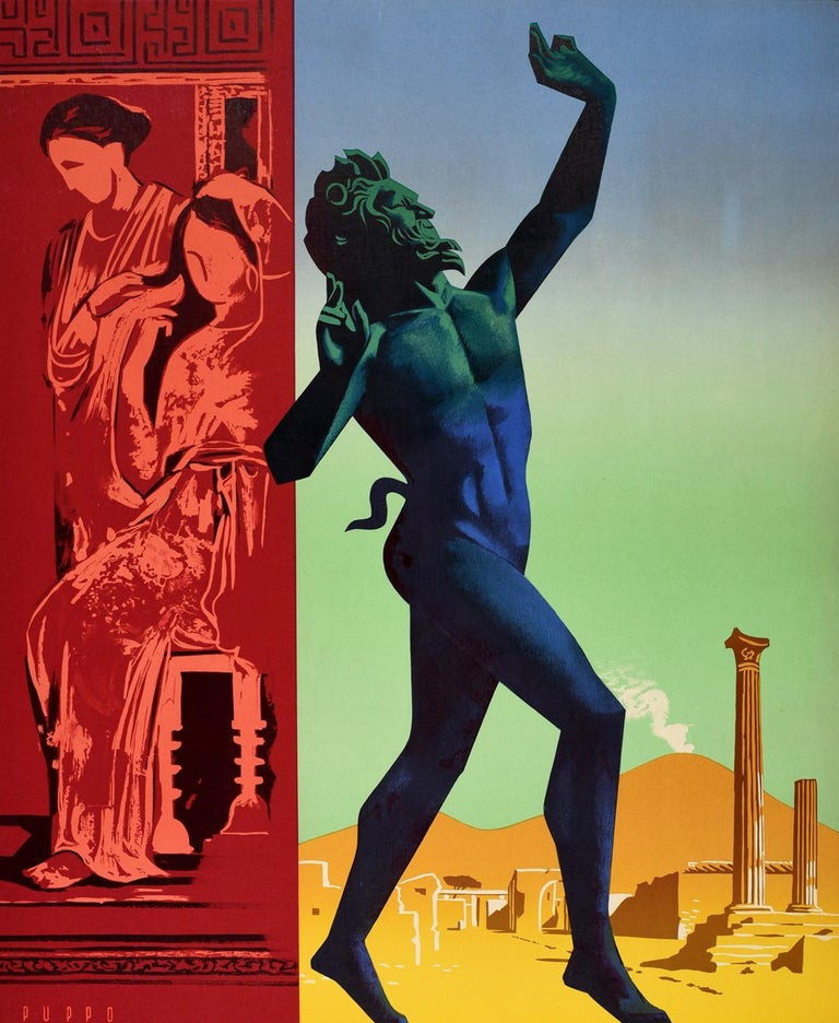 Original vintage travel poster for Pompei / Pompeii Italy featuring colourful artwork by the Italian graphic artist Mario Puppo (1913-1989) depicting the ancient horned Roman god statue preserved in the ash from the volcano in the House of the Faun
