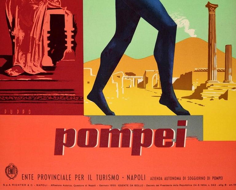 Italian Original Vintage Travel Poster Pompeii Dancing Faun Vesuvius Ancient Roman City For Sale