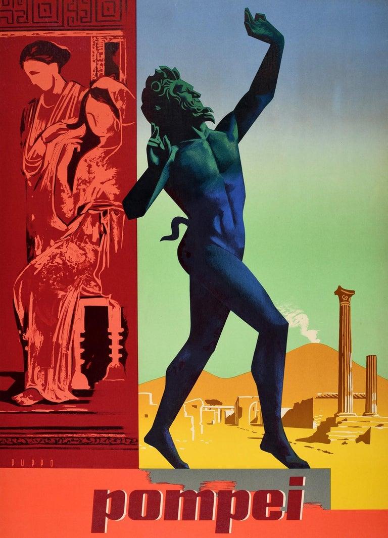 Original Vintage Travel Poster Pompeii Dancing Faun Vesuvius Ancient Roman City In Good Condition For Sale In London, GB