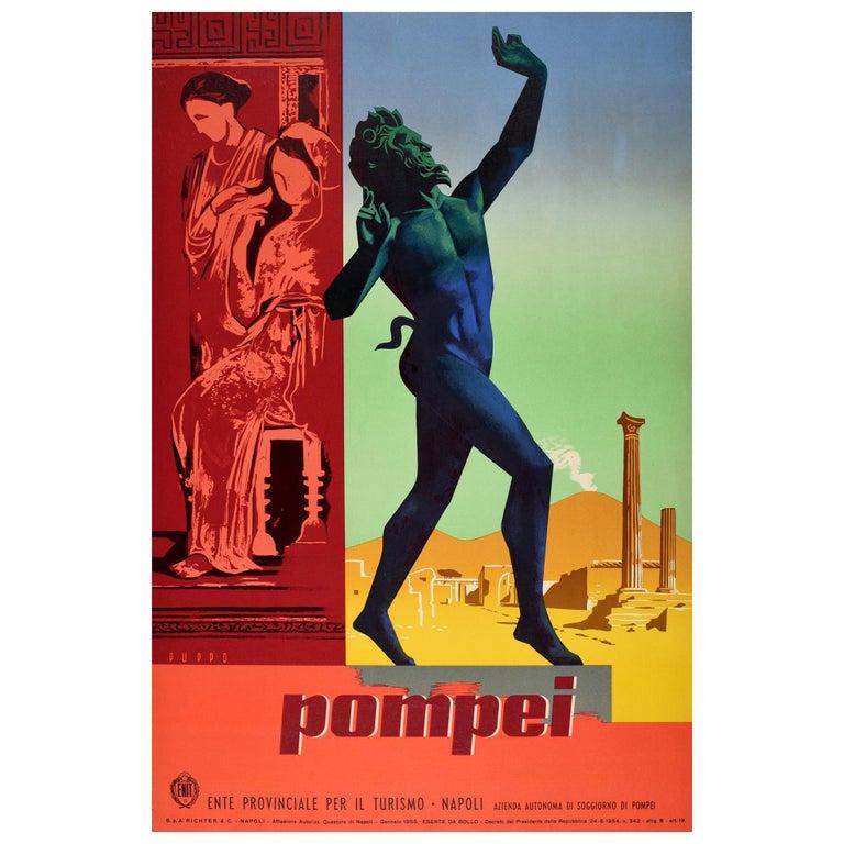 Original Vintage Travel Poster Pompeii Dancing Faun Vesuvius Ancient Roman City For Sale