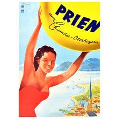 Original Vintage Travel Poster Prien Am Chiemsee Lake Health Spa Bavaria Germany