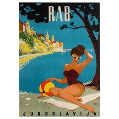 Original Vintage Travel Poster Rab Jugoslavija Yugoslavia Croatia Adriatic Sea