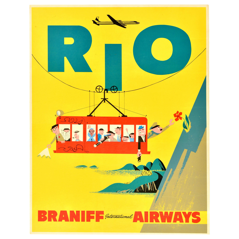 Original Vintage Travel Poster Rio Brazil S. America Sugarloaf Cable Car Braniff