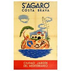 Original Vintage Travel Poster S'Agaro Costa Brava Mediterranean Garden Resort