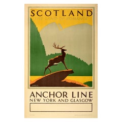 Original Vintage Travel Poster Scotland The Land Of Romance Anchor Line Shipping