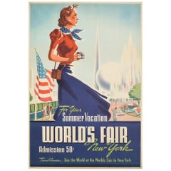 Original Vintage Travel Poster See The World's Fair New York Summer Vacation