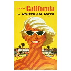 Original Vintage Travel Poster Southern California United Air Lines Mid-Century