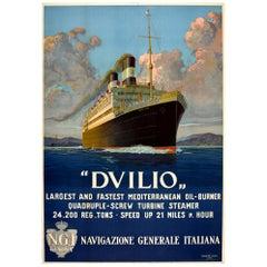 Original Vintage Travel Poster SS Duilio Transatlantic Ocean Liner Mediterranean