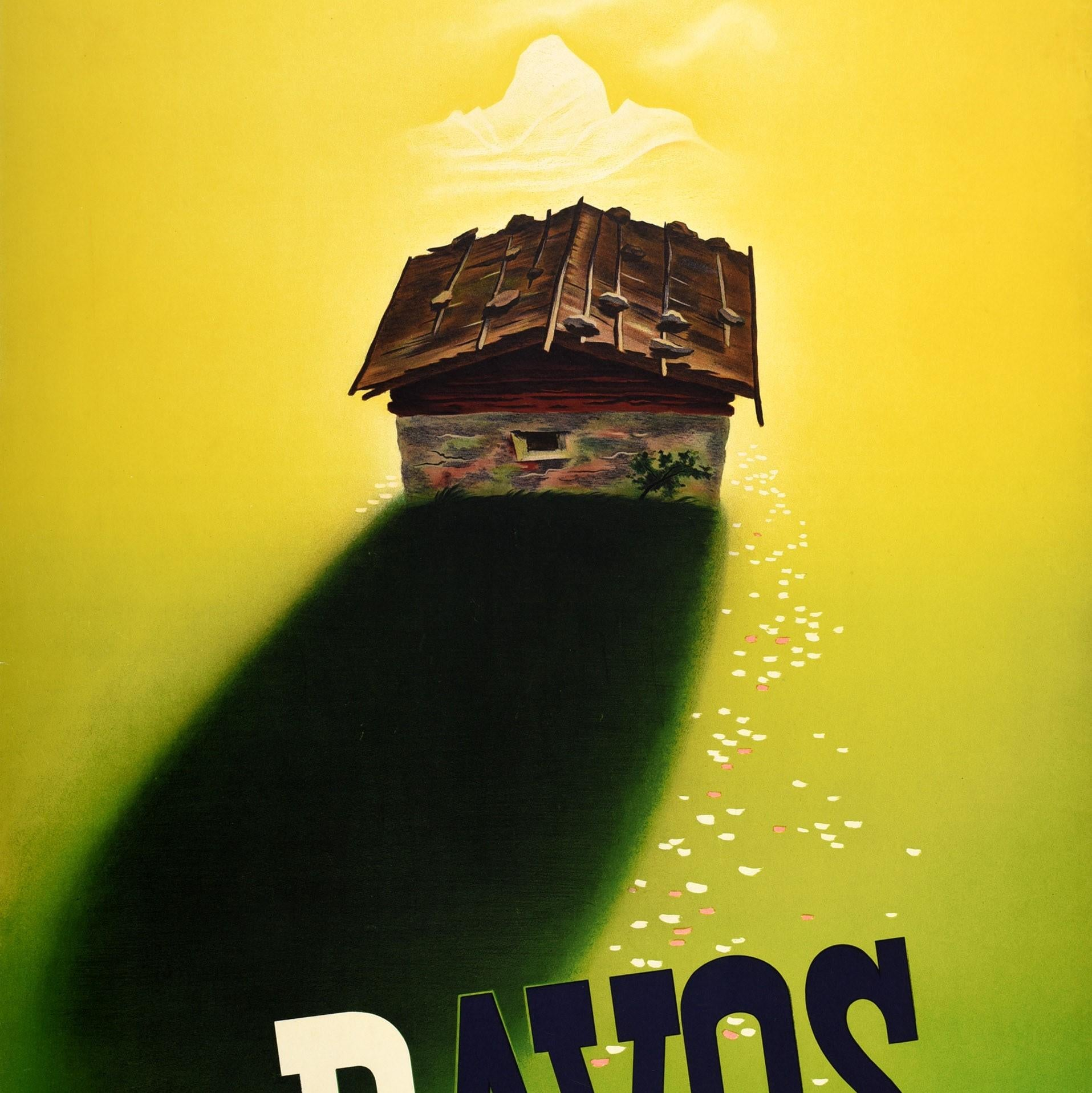 Davos Switzerland Swiss Suisse Vintage Travel Advertisement Art Poster Print
