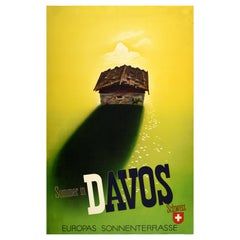Original Vintage Travel Poster Summer in Davos Switzerland Europe's Sun Terrace