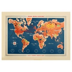 Original Vintage Travel Poster TWA World Routes Pictorial Map Continents Oceans