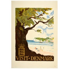 Original Vintage Travel Poster Visit Denmark Coast Beach Swimming Sailing Boat