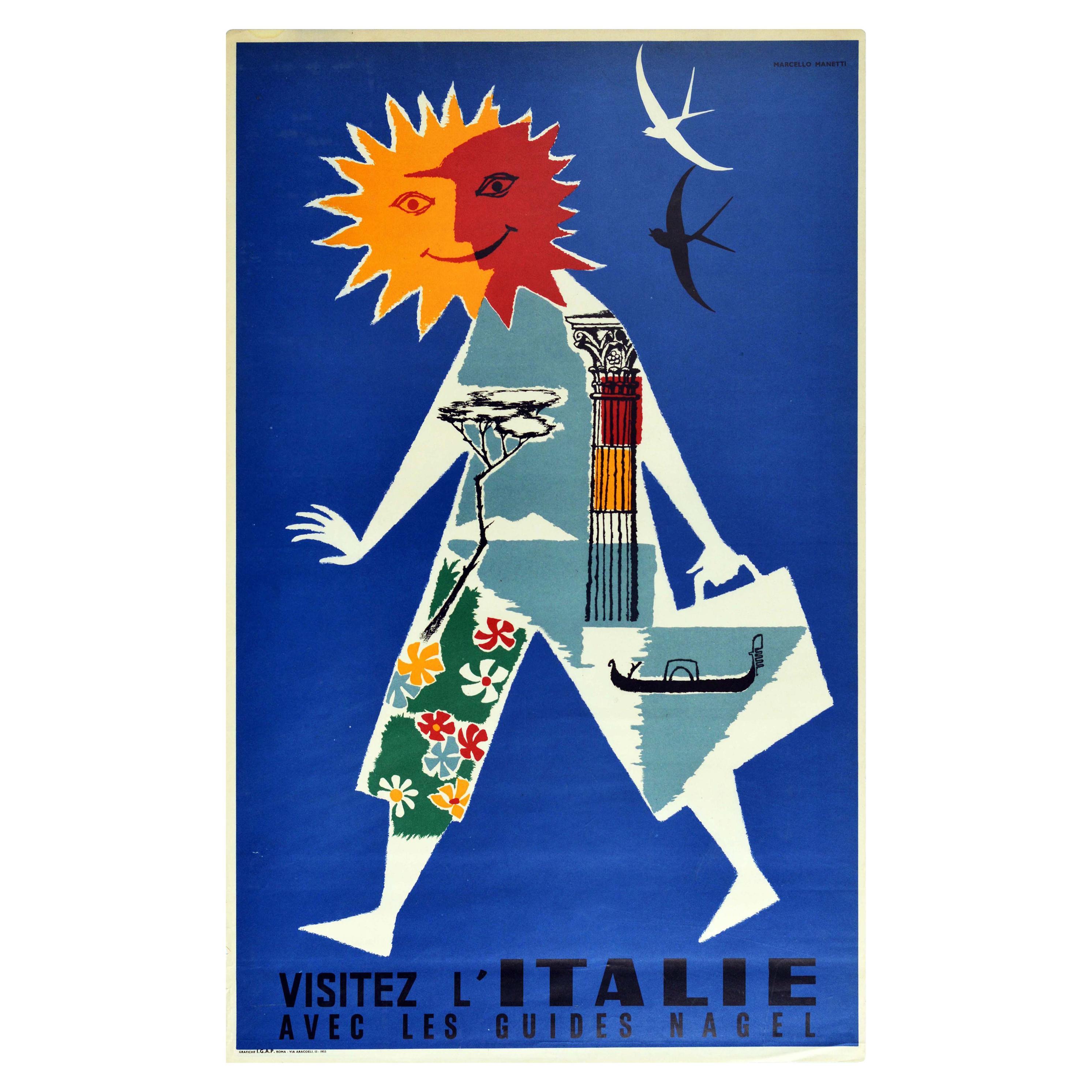 Original Vintage Travel Poster Visit Italy Coast Rome Venice Gondola Midcentury