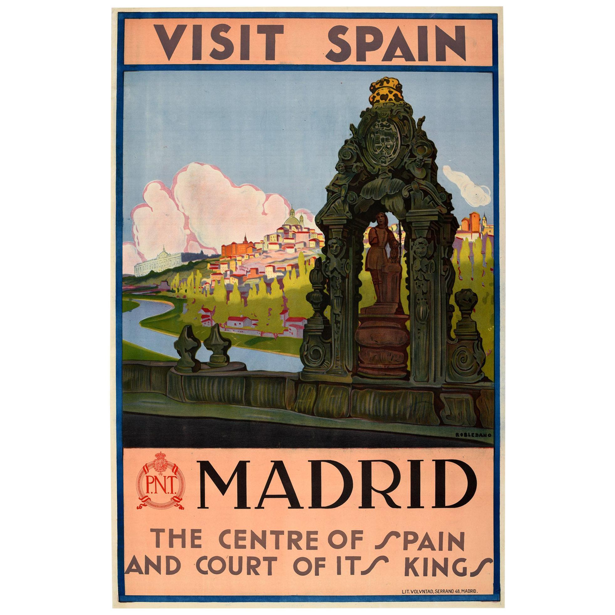Original Vintage Travel Poster Visit Spain Madrid Court Of Kings Toledo Bridge