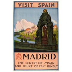 Original Vintage Travel Poster Visit Spain Madrid Court Of Kings Toledo Bridge