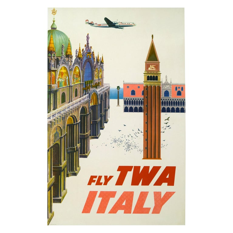 Original Vintage TWA Italy 1950s Travel Airline Poster, Klein For Sale