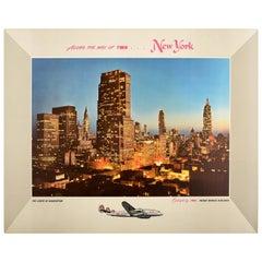 Original Vintage TWA Poster New York City The Lights Of Manhattan Airline Travel
