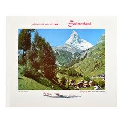 Original Vintage TWA Poster Switzerland Matterhorn Mountain Swiss Alps Travel