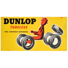 Original Vintage Tyre Advertising Poster, Dunlop Tubeless for Carefree Motoring