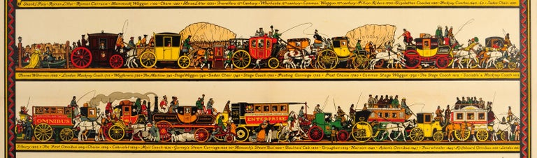 British Original Vintage Underground Poster The Londoner's Transport Throughout The Ages For Sale