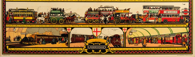 Early 20th Century Original Vintage Underground Poster The Londoner's Transport Throughout The Ages For Sale