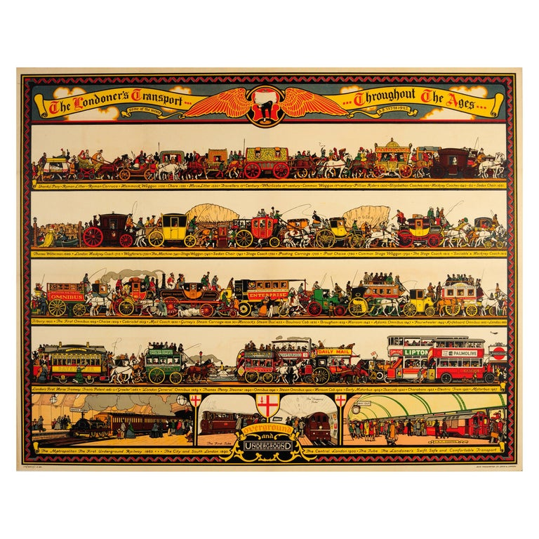 Original Vintage Underground Poster The Londoner's Transport Throughout The Ages For Sale