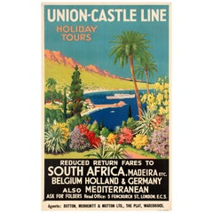 Original Vintage Union Castle Line Poster Promoting Cruise Ship Holiday Tours