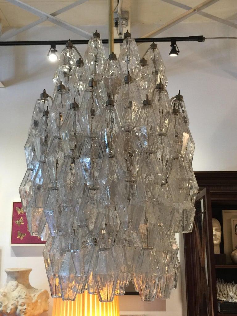 Murano Glass Original Vintage Venini Polyhedral Chandelier For Sale