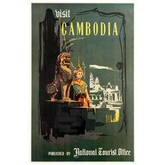 Original Vintage Visit Cambodia Travel Poster - Angkor Wat - Natl Tourist Office