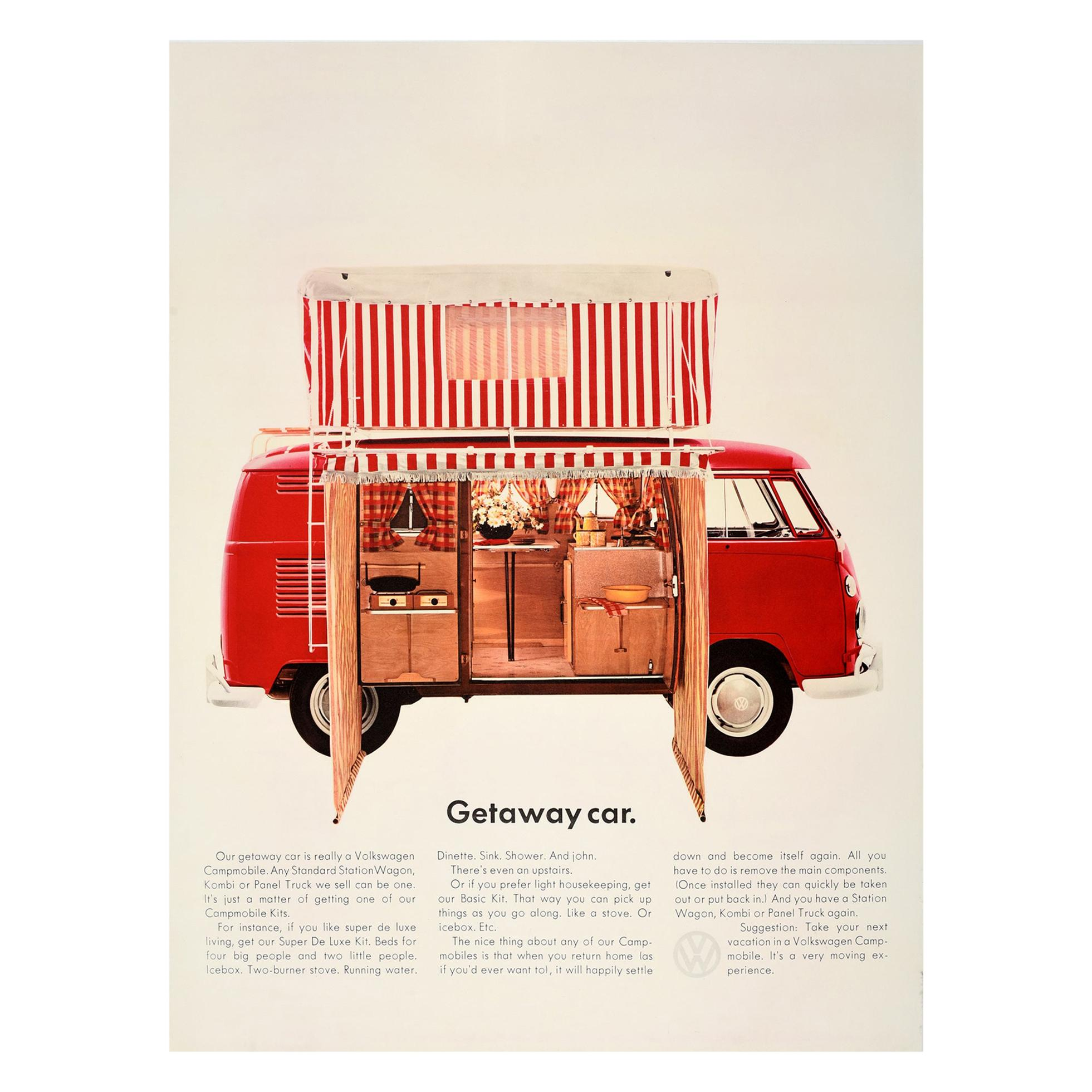 Original Vintage Volkswagen Poster Getaway Car VW Campmobile Station Wagon Kombi