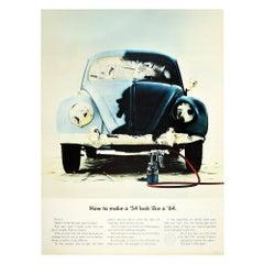 Original Vintage Volkswagen Poster How To Make A '54 Look Like A '64 Beetle Car