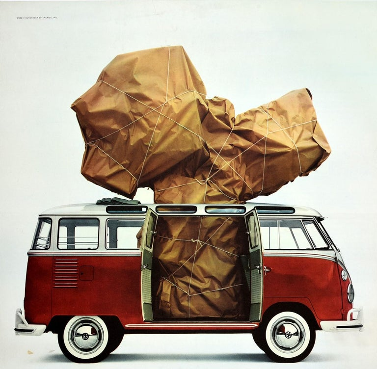 Original vintage camper van dealer showroom advertising poster for Volkswagen - What is it? - featuring a great design depicting big package wrapped in brown paper and string visible through the open doors of a red Volkswagen station wagon and from