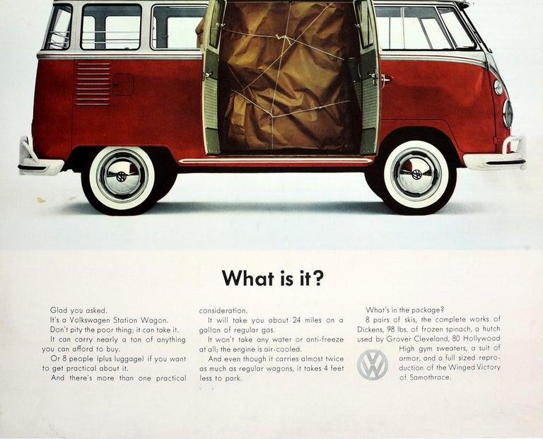 American Original Vintage Volkswagen Poster VW Camper Van Station Wagon Car - What Is It? For Sale