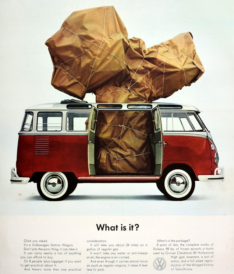 Original Vintage Volkswagen Poster VW Camper Van Station Wagon Car - What Is It? In Good Condition For Sale In London, GB