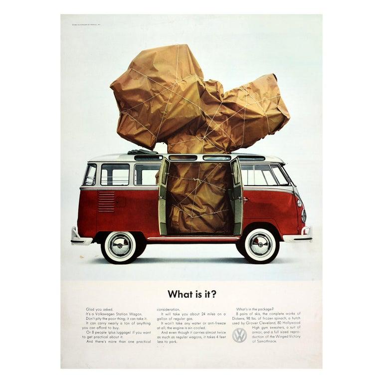 Original Vintage Volkswagen Poster VW Camper Van Station Wagon Car - What Is It? For Sale