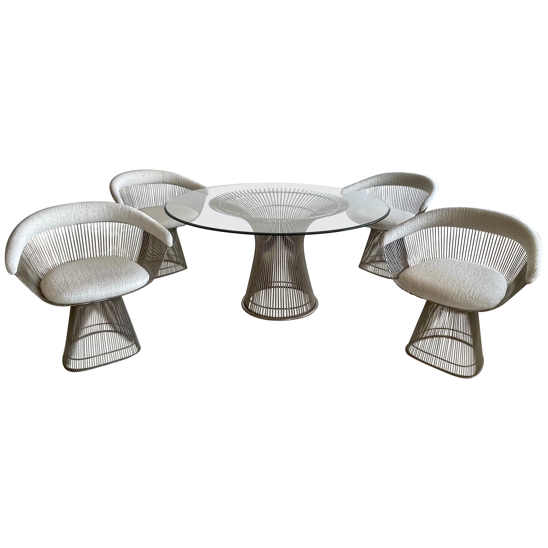 Original Vintage Warren Platner for Knoll Dining Table + 4 Armchairs