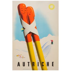Original Vintage Winter Sport and Skiing Travel Poster Romantic Austria Autriche