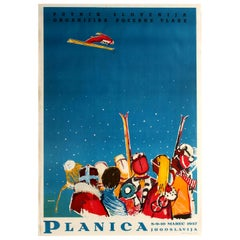 Original Vintage Winter Sport Poster Ski Jump Flying Planica Yugoslavia Slovenia