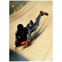 Original Vintage Winter Sport Poster St Moritz Cresta Run Skeleton Bobsleigh