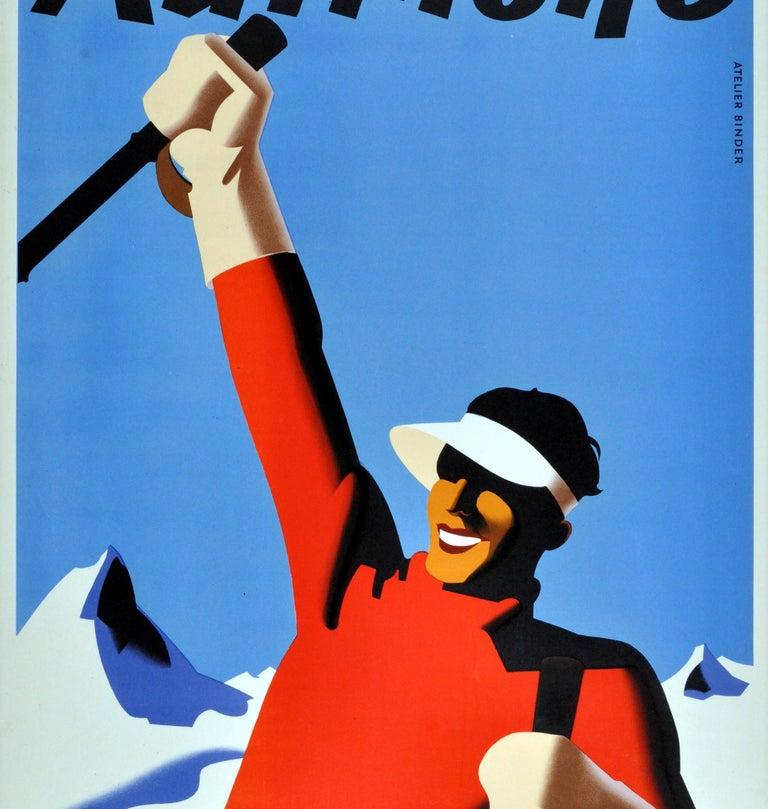 Austrian Original Vintage Winter Sport Skiing Poster For Autriche Austria Skier Mountains For Sale